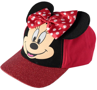 Disney Minnie Mouse Baseball Cap with 3D Ears, Bow & Glitter Rim