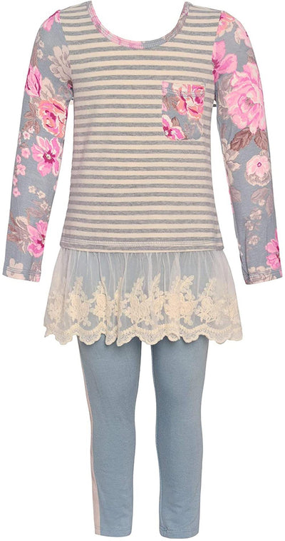 Bonnie Jean Floral Stripe Lace Hem Legging Set