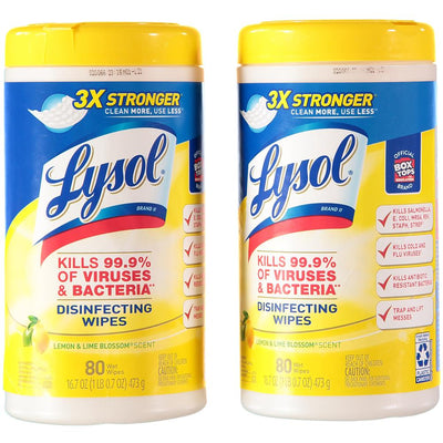 Lysol Disinfecting Wipes 80 Count - 2 Pack