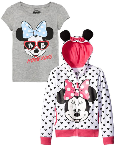Disney Girls 2T-4T Minnie Mouse Bow Hoodie T-Shirt Set