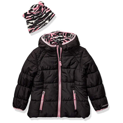London Fog Girls Zebra Puffer Jacket with Hat