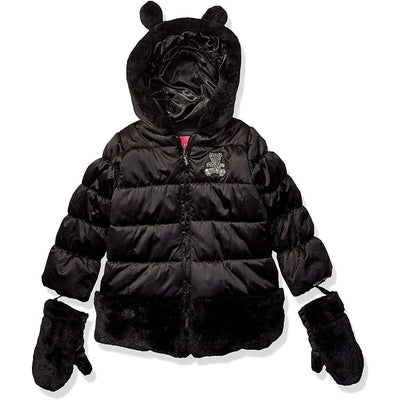 London Fog Girls Fur Bear Satin Jacket Mittens
