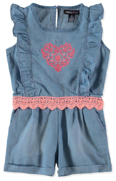 Limited Too Girls 2T-4T Heart Lace Romper