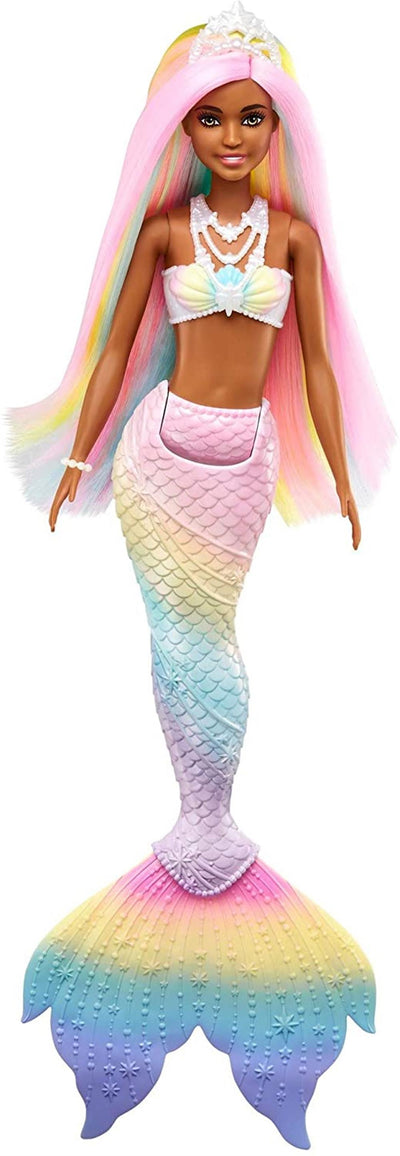 Barbie Dreamtopia Rainbow Magic Mermaid Doll with Rainbow Hair and Water-Activated Color Change Feat