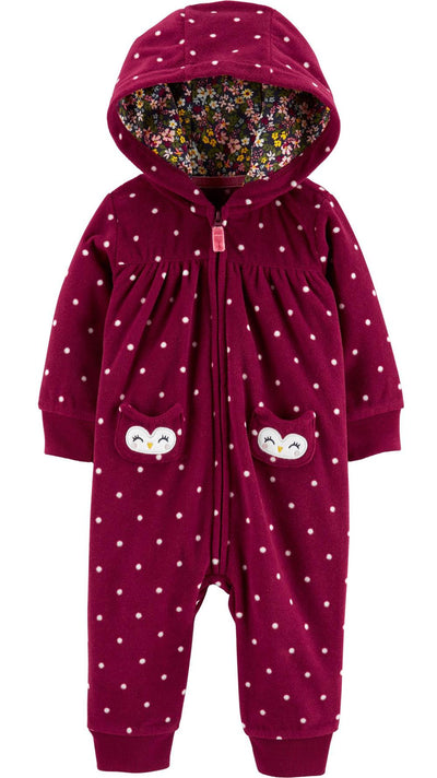 Carters Girls 0-24 Months Owl Hood Jumpsuit
