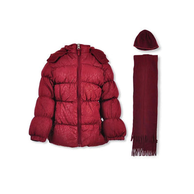 Pink Platinum Girls Puffer Jacket Hat Scarf Set