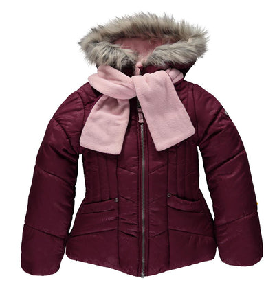 London Fog Girls Puffer Jacket with Scarf