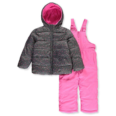 Pink Platinum Girls Heart Bow Snowsuit