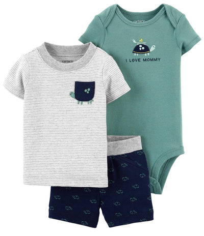 Carters Boys 0-24 Months 3-Piece Turtle Little Short Set