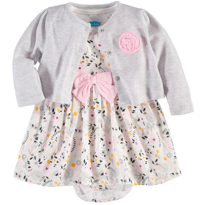 Bon Bebe Baby Girls 12-24 Months Rose Cardigan Dress Set
