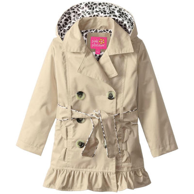 Pink Platinum Girls 4-6X Double-Breasted Leopard Trench Coat
