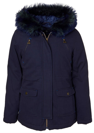 Tahari Girls 7-16 Faux Fur Hooded Twill Anorak Jacket