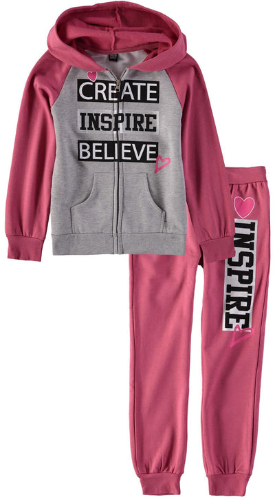 Star Ride Girls 4-6X Hooded Zip Front Sweatshirt Jogger Set