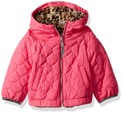 London Fog Girls' Reversible Quilted Midweight Jacket