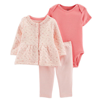 Carters Girls 0-24 Months Quilted 3-Piece Jacket Set