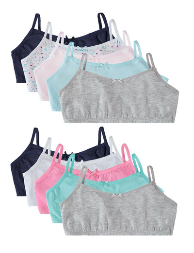 Rene Rofe Girls' Cotton Spandex Training Bra Bralettes with Adjustable Straps (10 Pack)