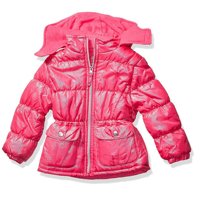 Pink Platinum Girls Foil Star Puffer Jacket