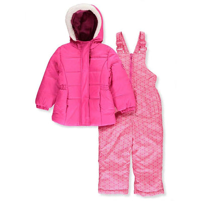 Pink Platinum Girls Fur Hood 2 Piece Snowsuit