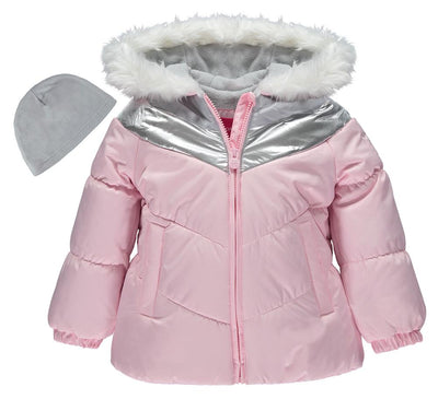 London Fog Girls Metallic Puffer with Hat