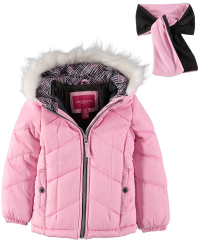 London Fog Girls 7-16 Chevron Bubble Jacket Scarf Set