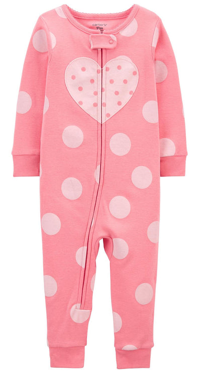 Carters Girls 2T-4T Heart 1-Piece Cotton Pajama