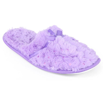 Chatties Womens Plush Sequin Slippers
