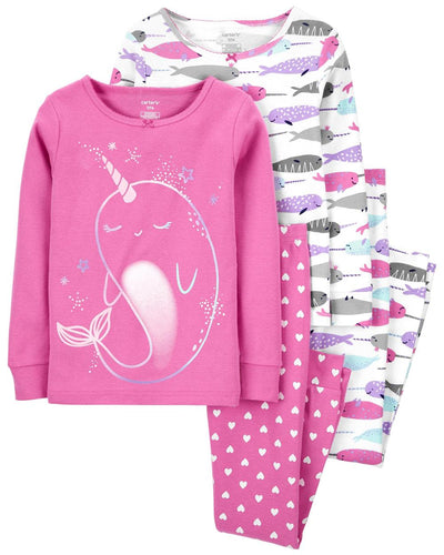 Carters Girls 4-14 Narwhal 4-Piece Pajama Set