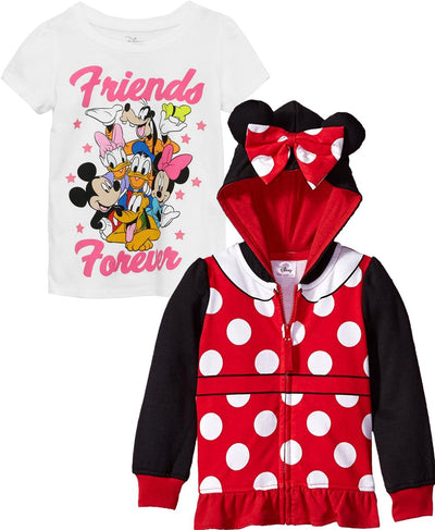 Disney Girls 2T-4T Minnie Mouse Hoodie T-Shirt Set