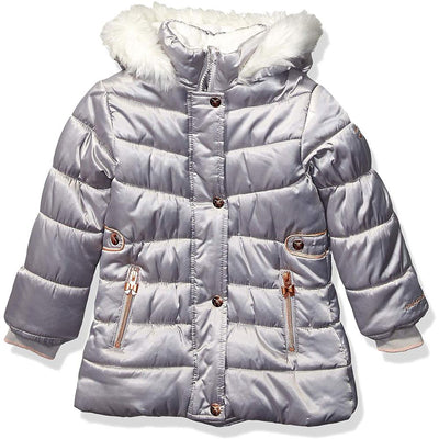 London Fog Girls Fur Satin Parka