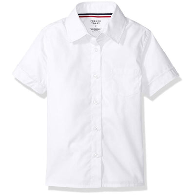 French Toast Girls Short Sleeve Pointed Collar Button Down Shirt