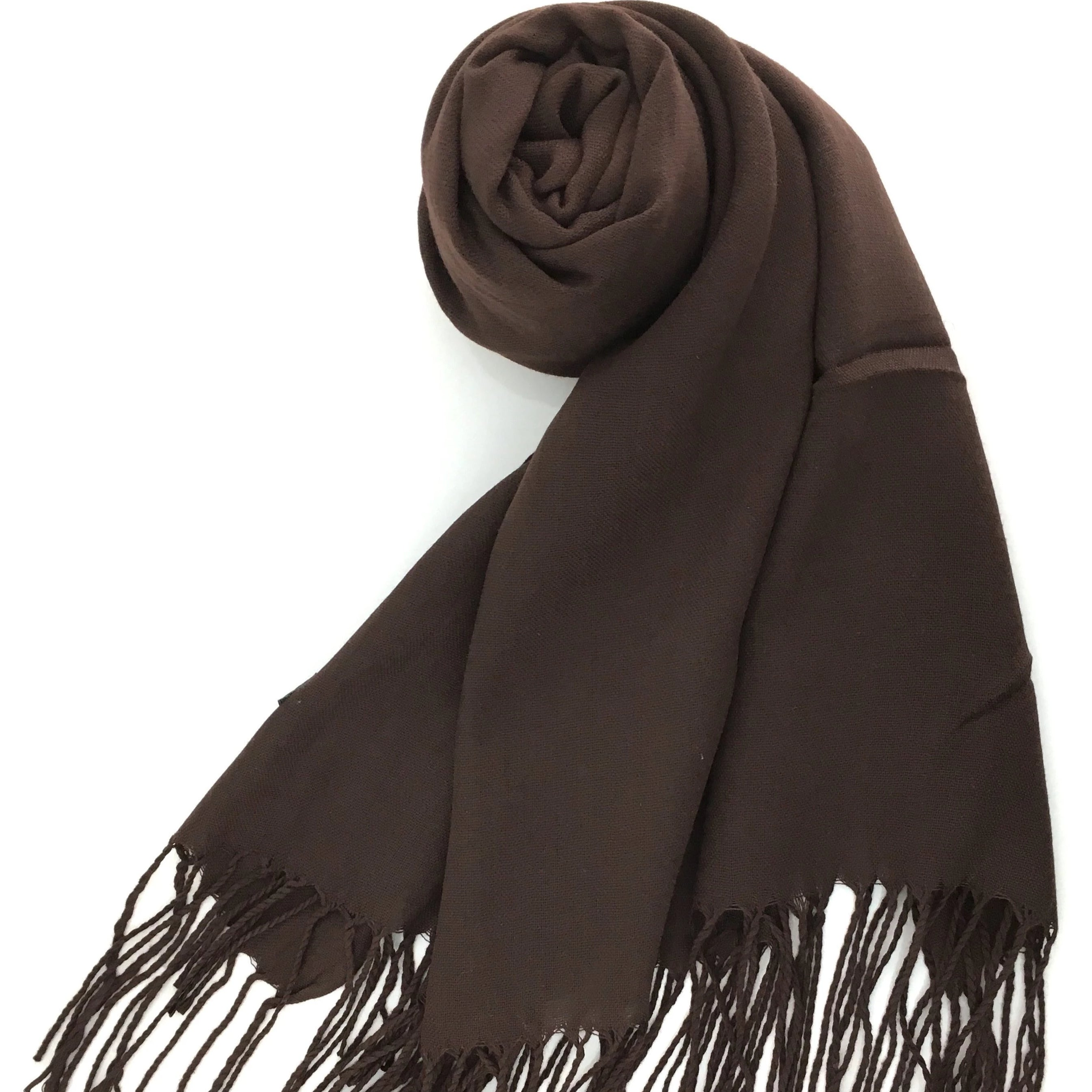 b75741d31f5 Pashmina Scarf with Fringe, Chocolate Brown