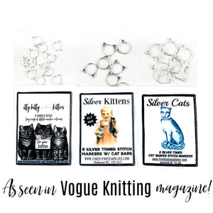 Cat stitch markers, small, med or large, multi colours, knitting gift, As seen in Vogue Knitting!
