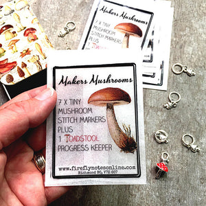 Mushroom stitch Markers, Makers mushrooms