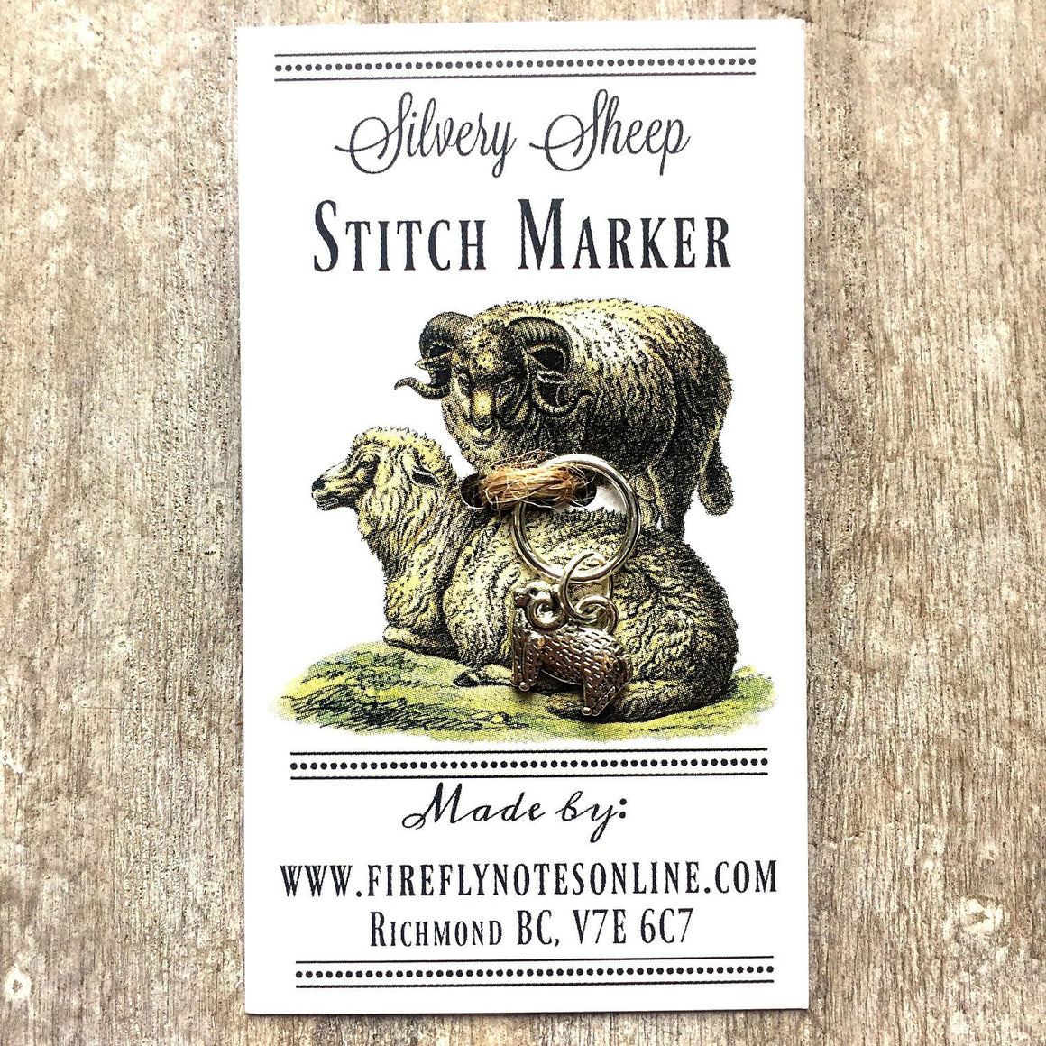 Silvery sheep stitch marker, 10 mm snag free or removable