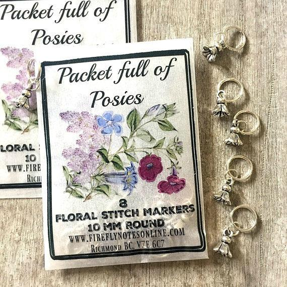 Flower stitch marker pack, 10 mm snag free