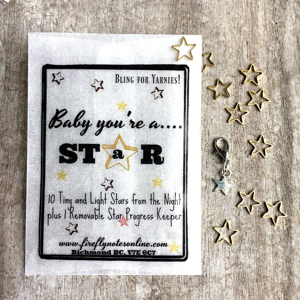 Stars stitch marker pack, tiny and lightweight
