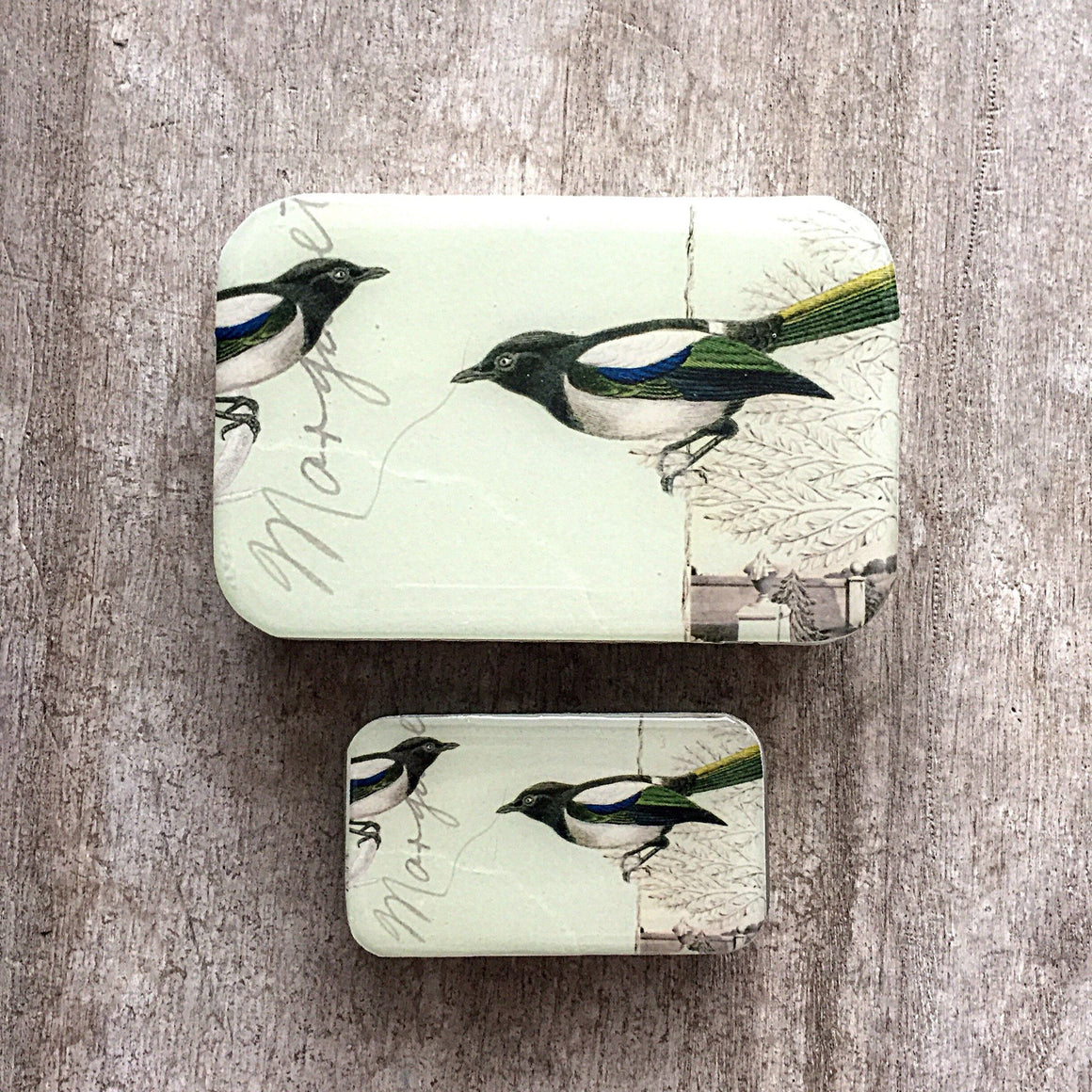 Magpie storage tin
