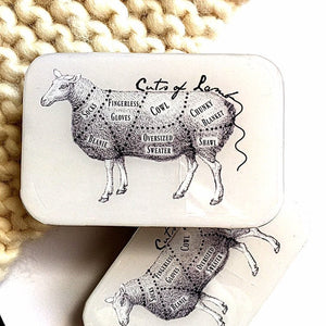 Cuts of lamb knitting notions tin, crochet notions