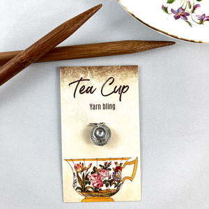 Tea caddy and tea cup stitch marker