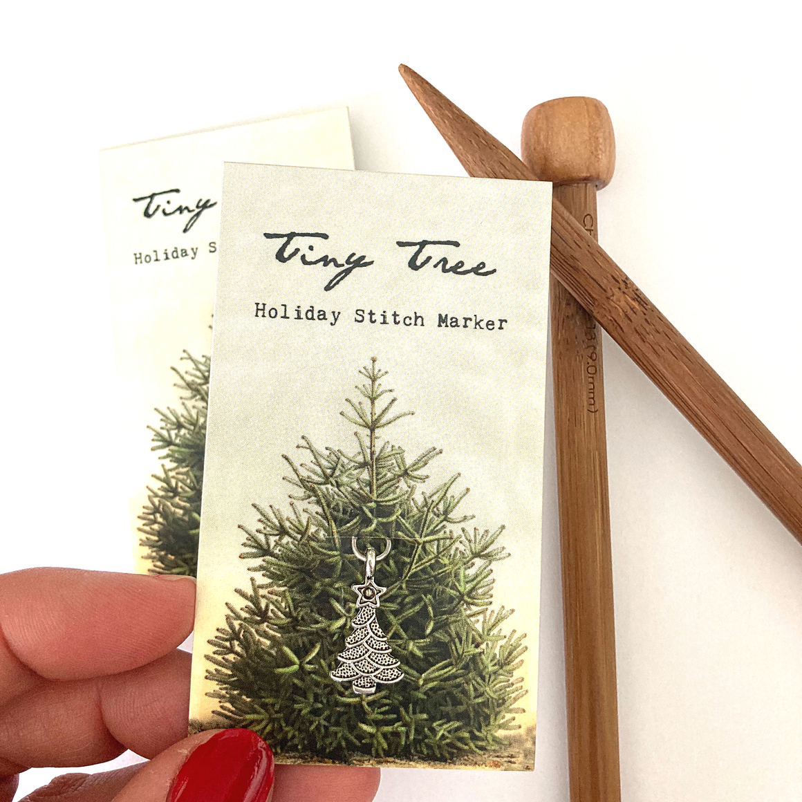 Tiny tree holiday stitch marker or progress keeper