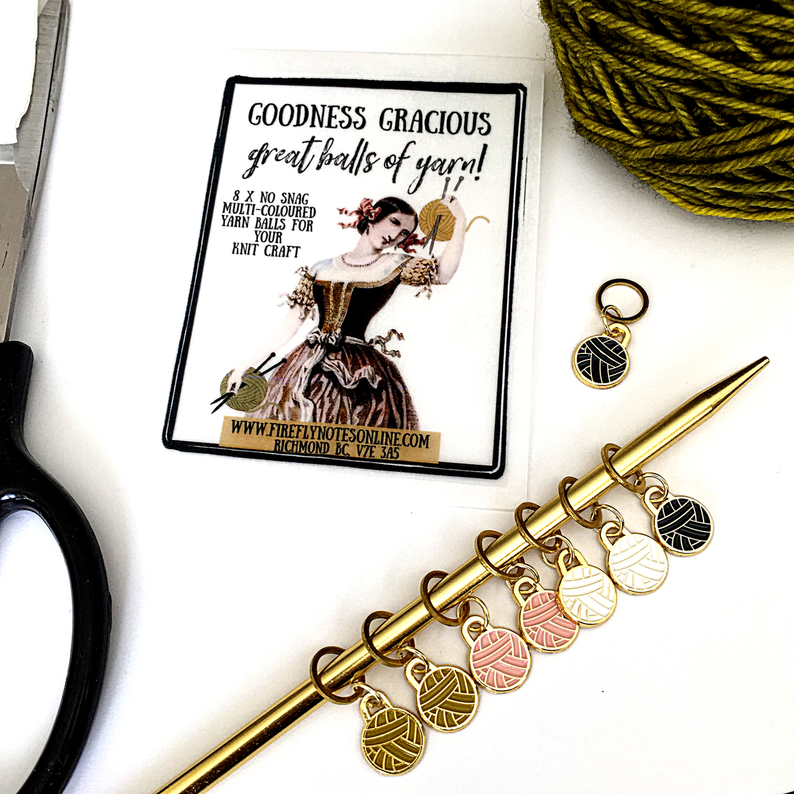 Yarn ball stitch marker pack