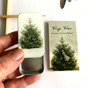 Tiny tree tin and stitch marker combo