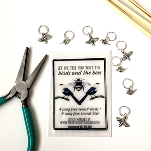 Birds and bees stitch marker pack