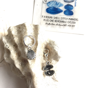 Seashell stitch markers, 10 mm snag free plus one removable, knitting notions
