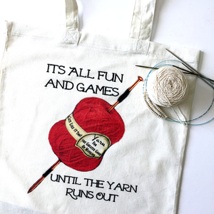 All fun and games knitting project tote