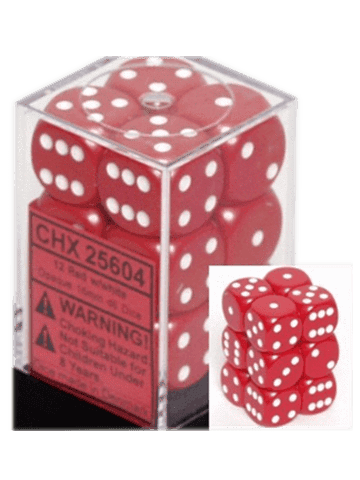 Chessex 12 Red w/white Opaque 16mm D6 Dice Block - CHX25604