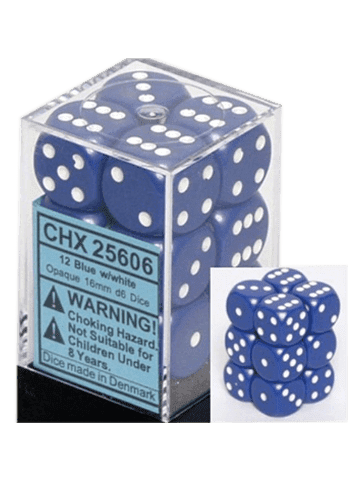 Chessex 12 Blue w/white Opaque 16mm D6 Dice Block - CHX25606