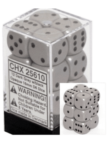 Chessex 12 Dark Grey w/black Opaque 16mm D6 Dice Block - CHX25610
