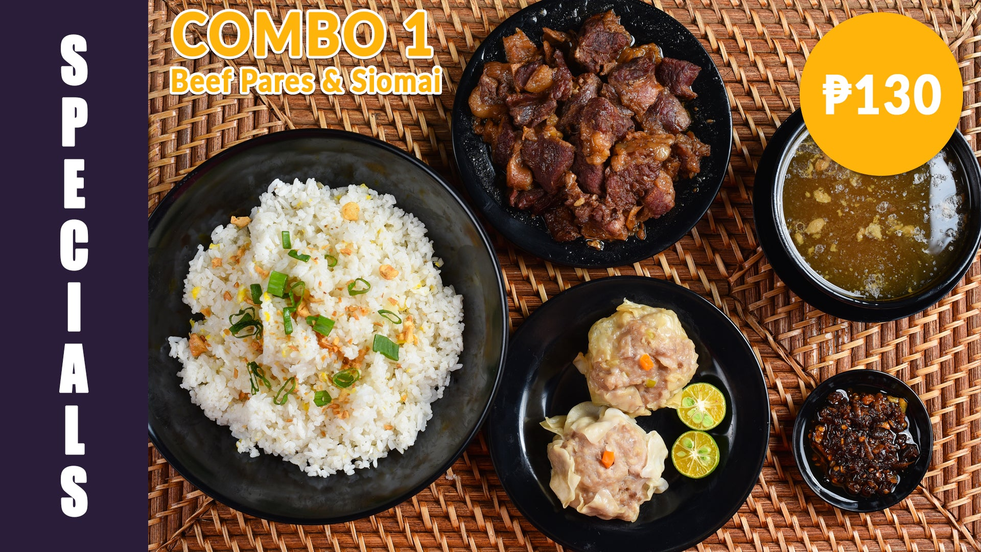 Cocoy's Combo 1 Beef Pares + 2pcs Pork Siomai | Affinity Games