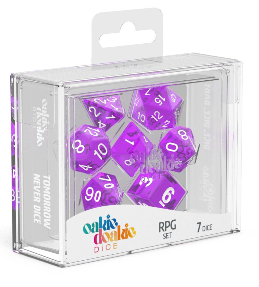 Oakie Doakie Dice RPG Set Translucent (7) PURPLE | Affinity Games